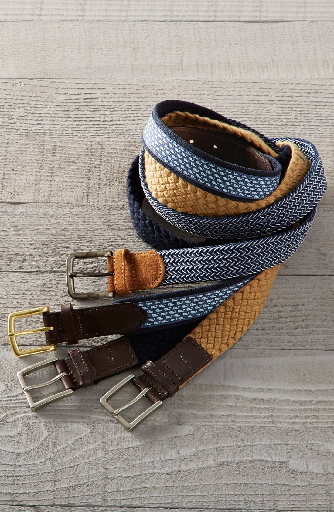Whale Club Leather & Canvas Belt,                             Alternate thumbnail 3, color,
