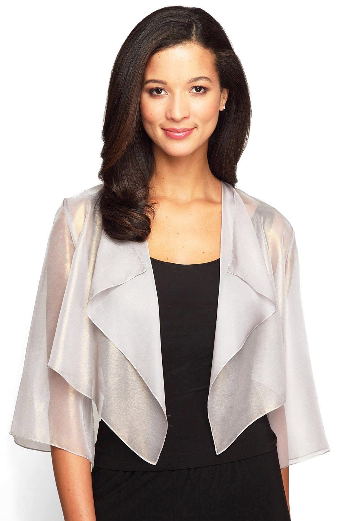 Alternate Image 2  - Alex Evenings Ruffle Drape Jacket