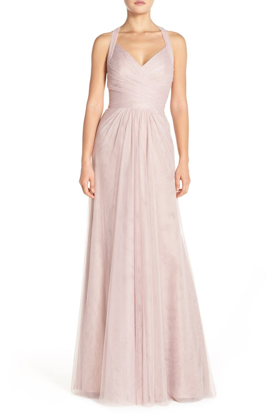 Sleeveless V-Neck Tulle Gown,                             Main thumbnail 1, color,                             Rose