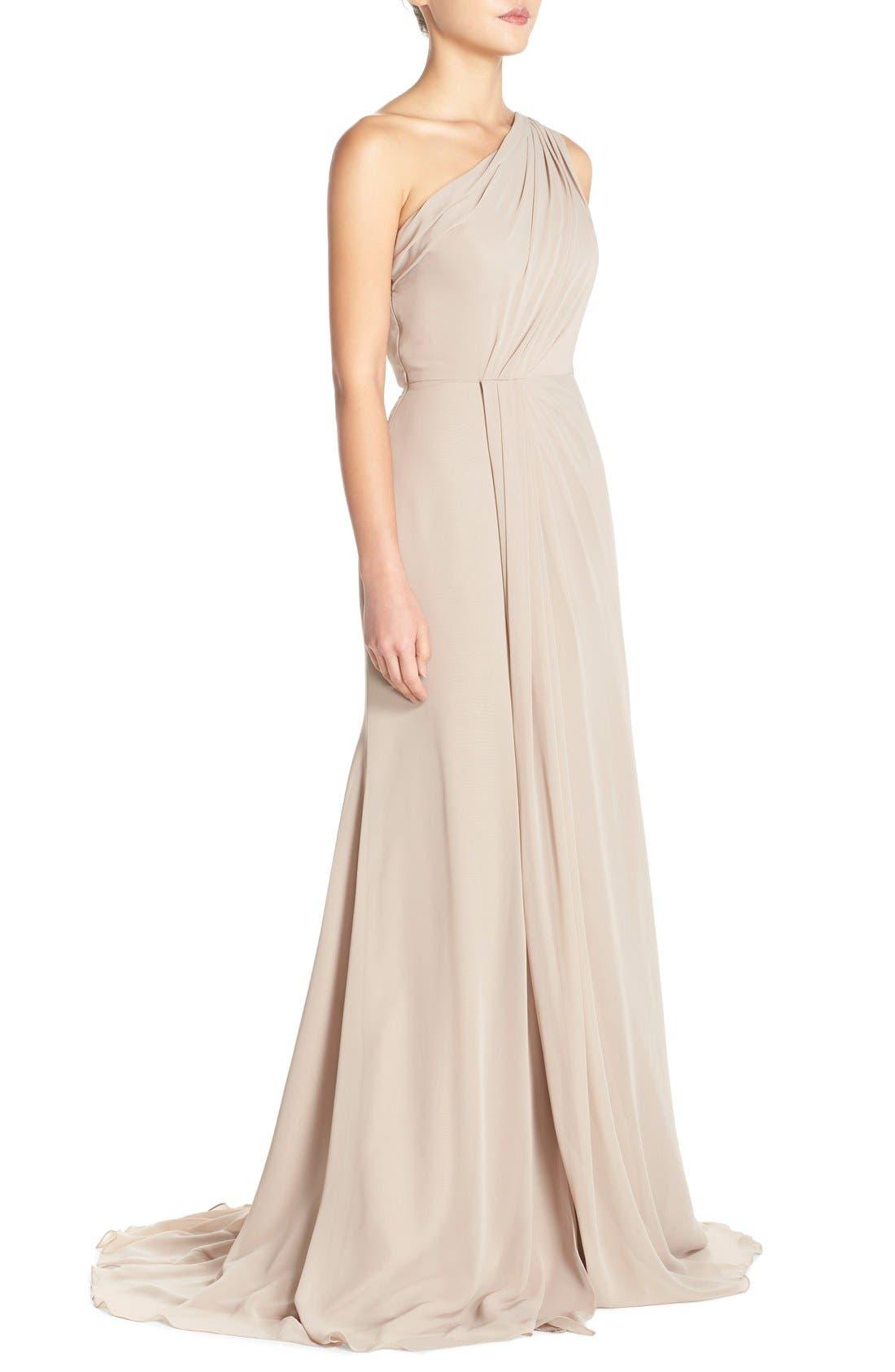 Alternate Image 3  - Monique Lhuillier Bridesmaids One-Shoulder Chiffon Gown
