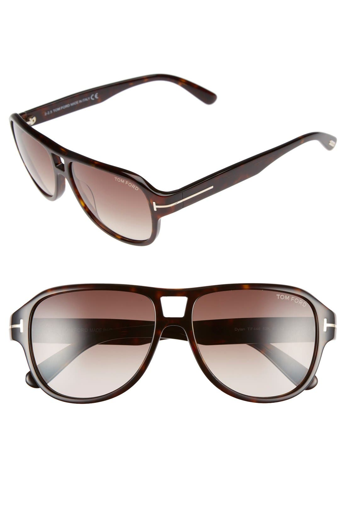 TOM FORD Dylan 57mm Aviator Sunglasses