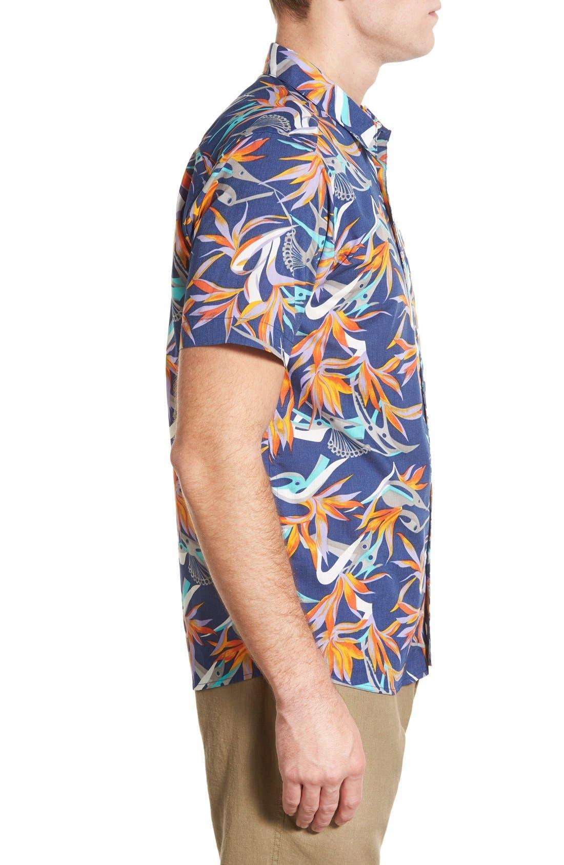 'Go To' Slim Fit Short Sleeve Sport Shirt,                             Alternate thumbnail 3, color,                             Piton Paradise/ Channel Blue