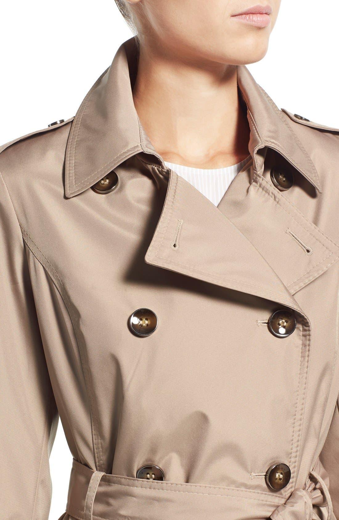 Alternate Image 4  - Via Spiga Faux Leather Trim Trench Coat