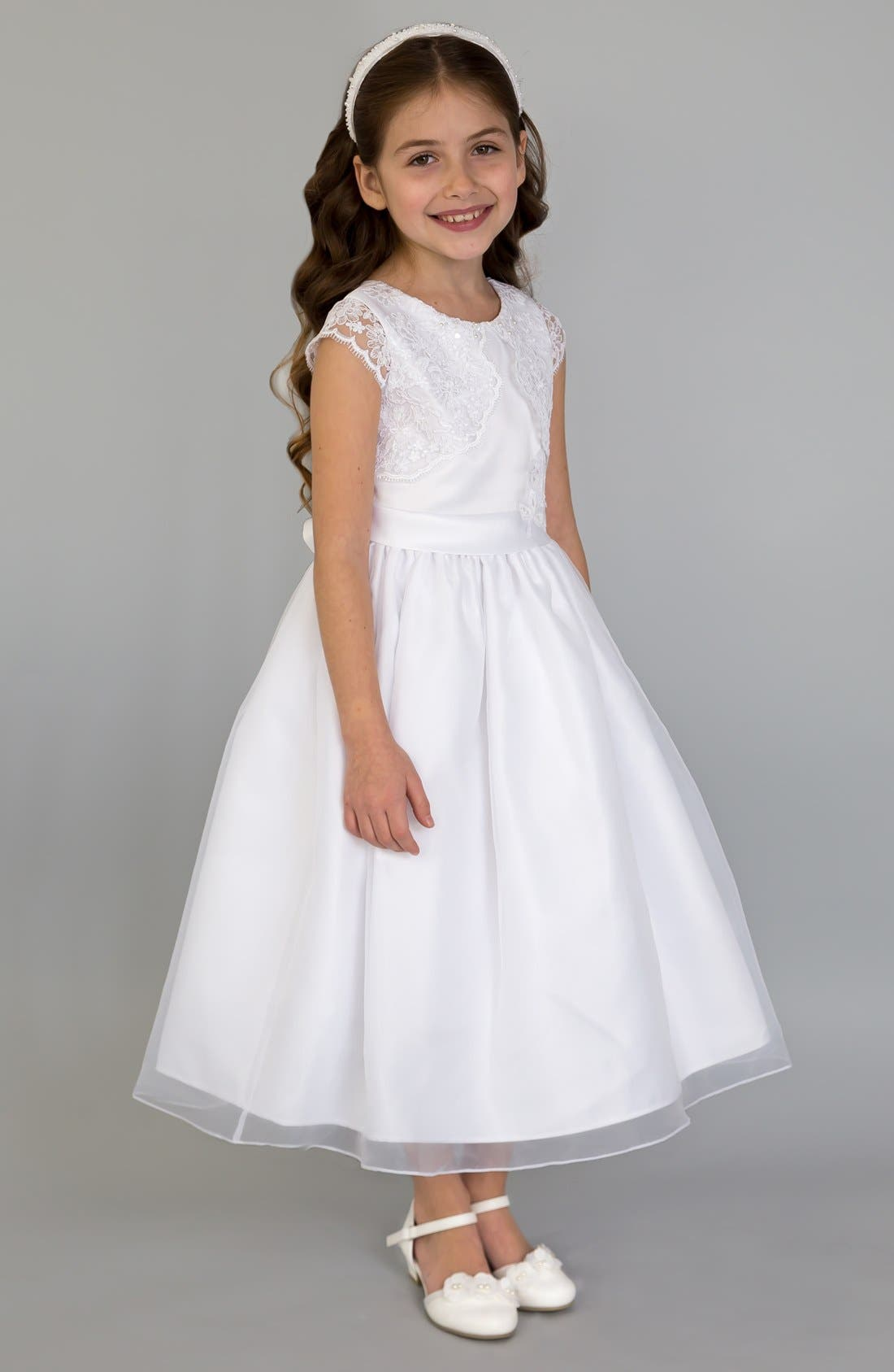 Alternate Image 1 Selected - Us Angels Lace Fit & Flare Dress (Little Girls, Big Girls & Girls' Plus)