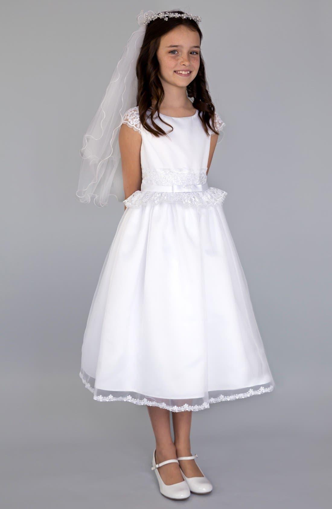Lace Peplum Organza Dress,                             Main thumbnail 1, color,                             White