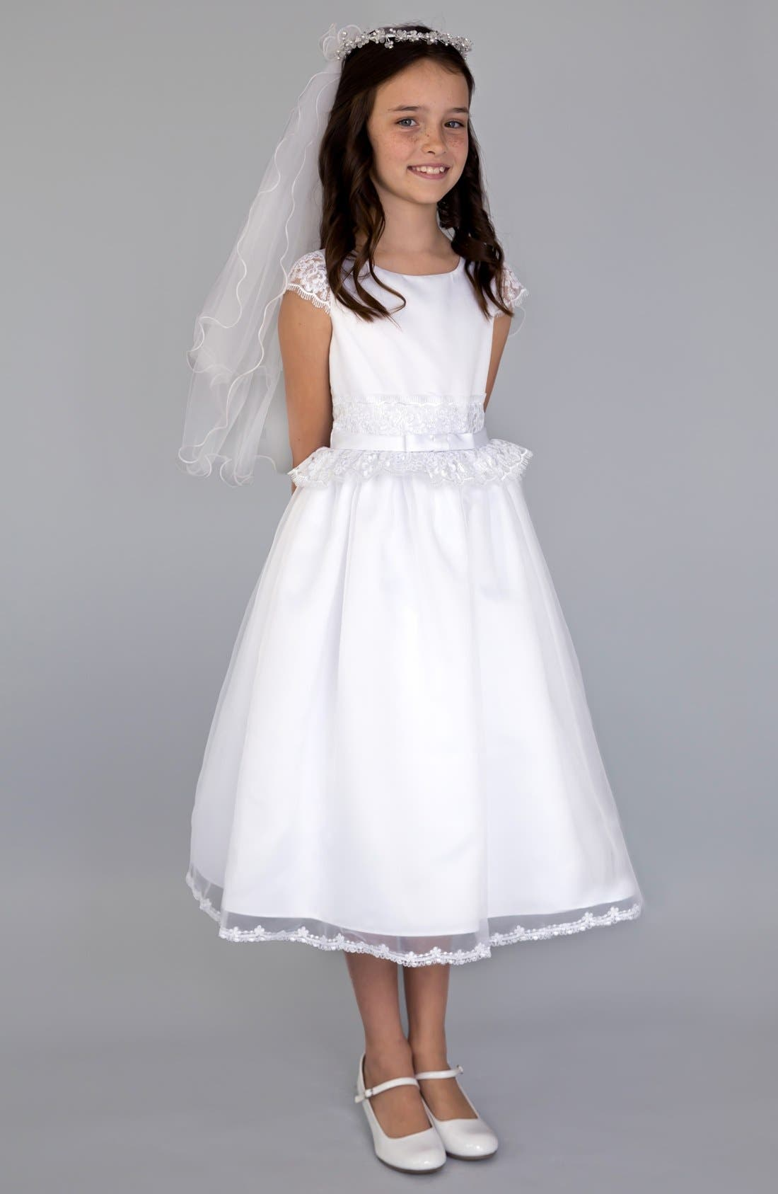 Lace Peplum Organza Dress,                         Main,                         color, White