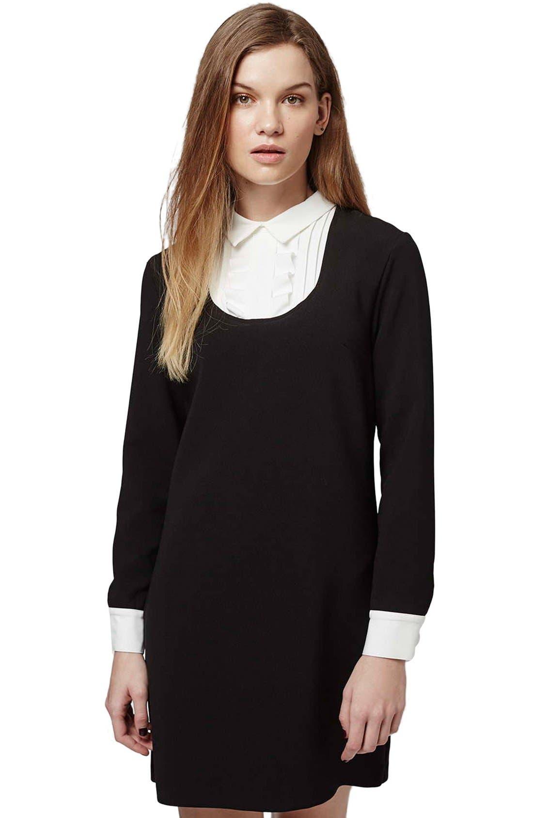 Ruffle Bib Shift Dress,                             Alternate thumbnail 3, color,                             Black Multi