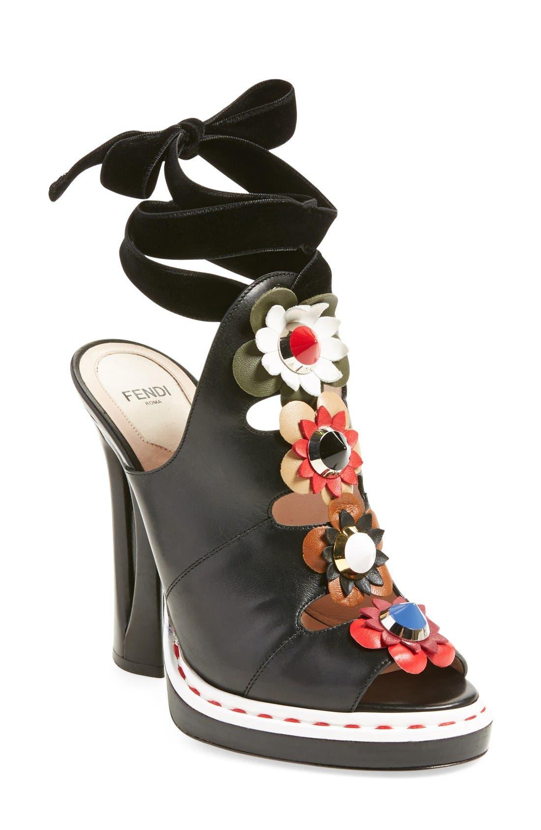 'Flowerland' Peep Toe Sandal,                             Main thumbnail 1, color,                             Black