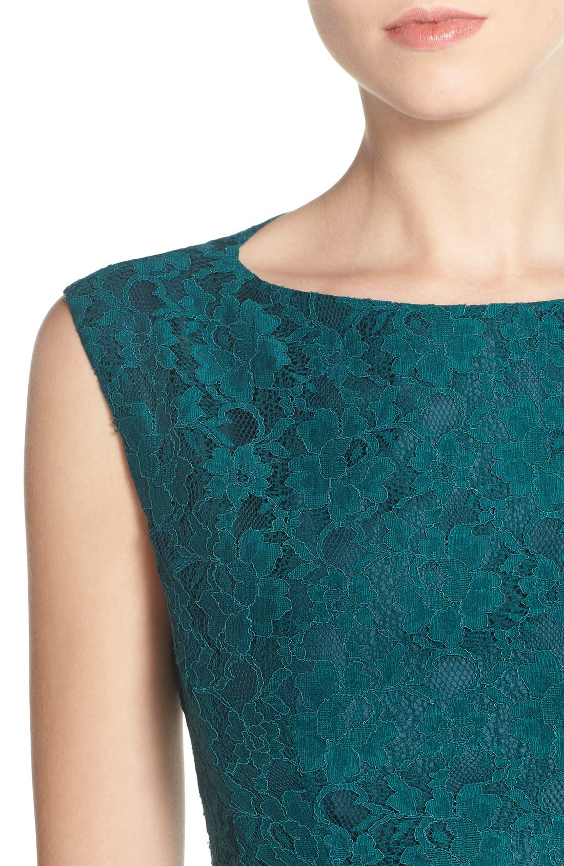 Fit & Flare Dress,                             Alternate thumbnail 5, color,                             Jewel Green