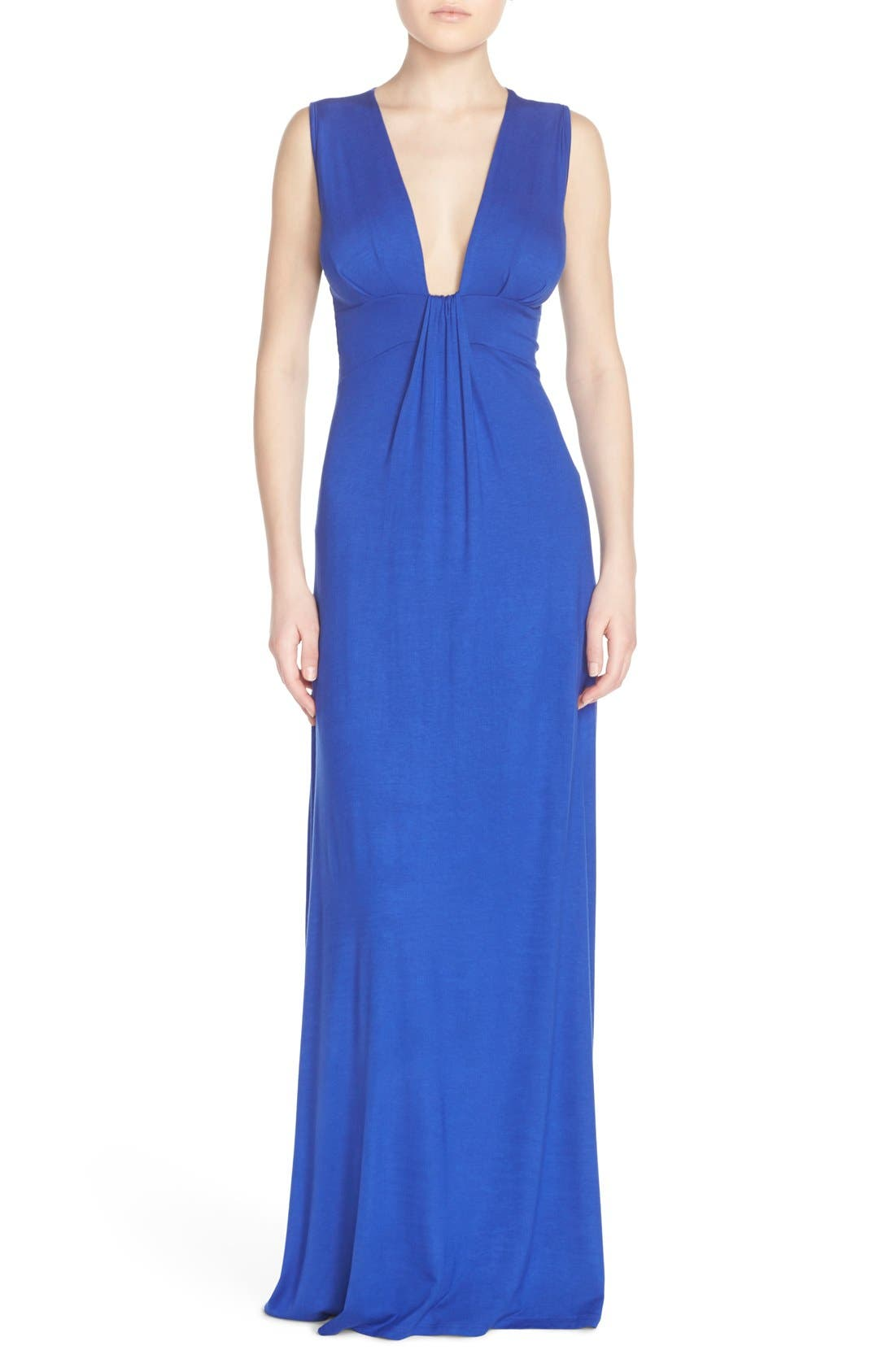Deep V-Neck Jersey Maxi Dress,                         Main,                         color, Royal
