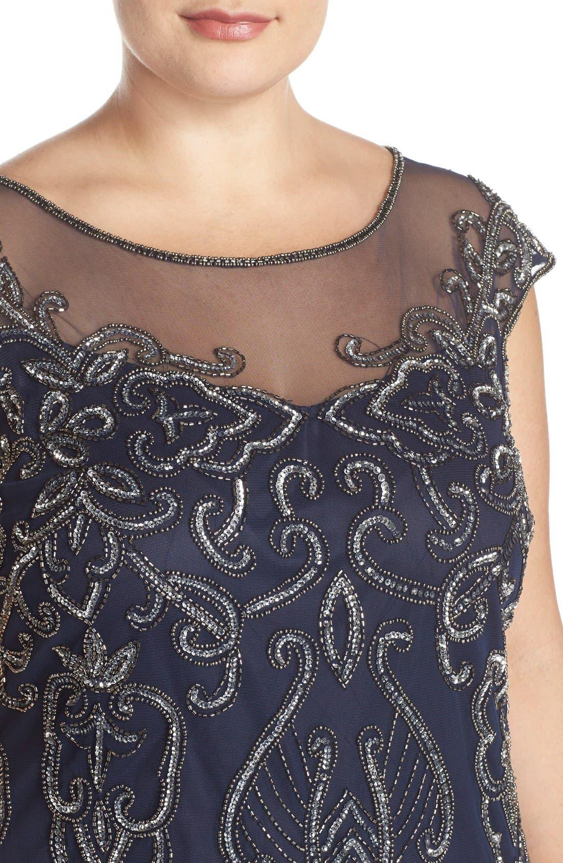 Alternate Image 4  - Pisarro Nights Illusion Neck Beaded A-Line Gown (Plus Size)