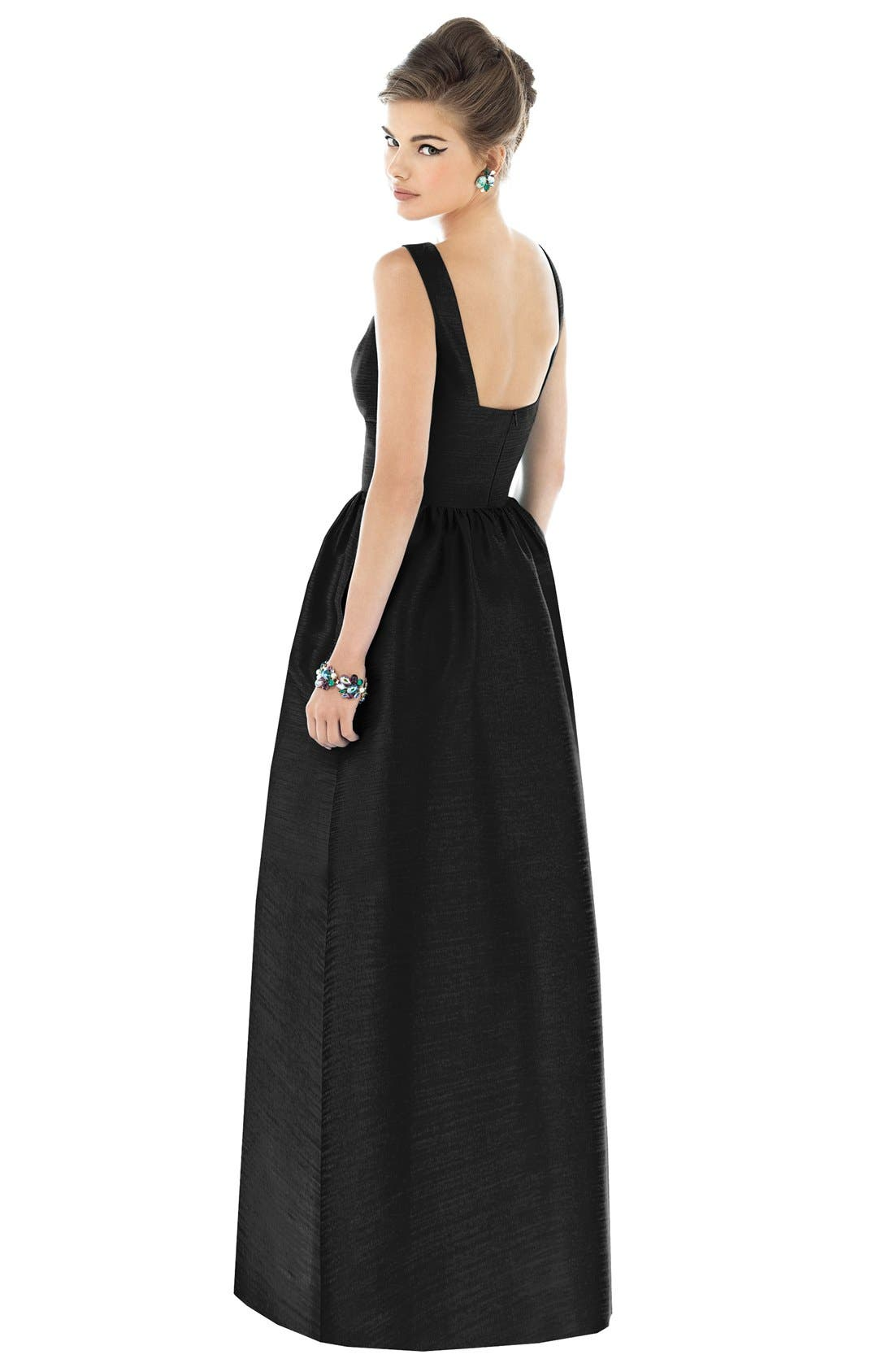 Alternate Image 2  - Alfred Sung Square Neck Dupioni Full Length Dress