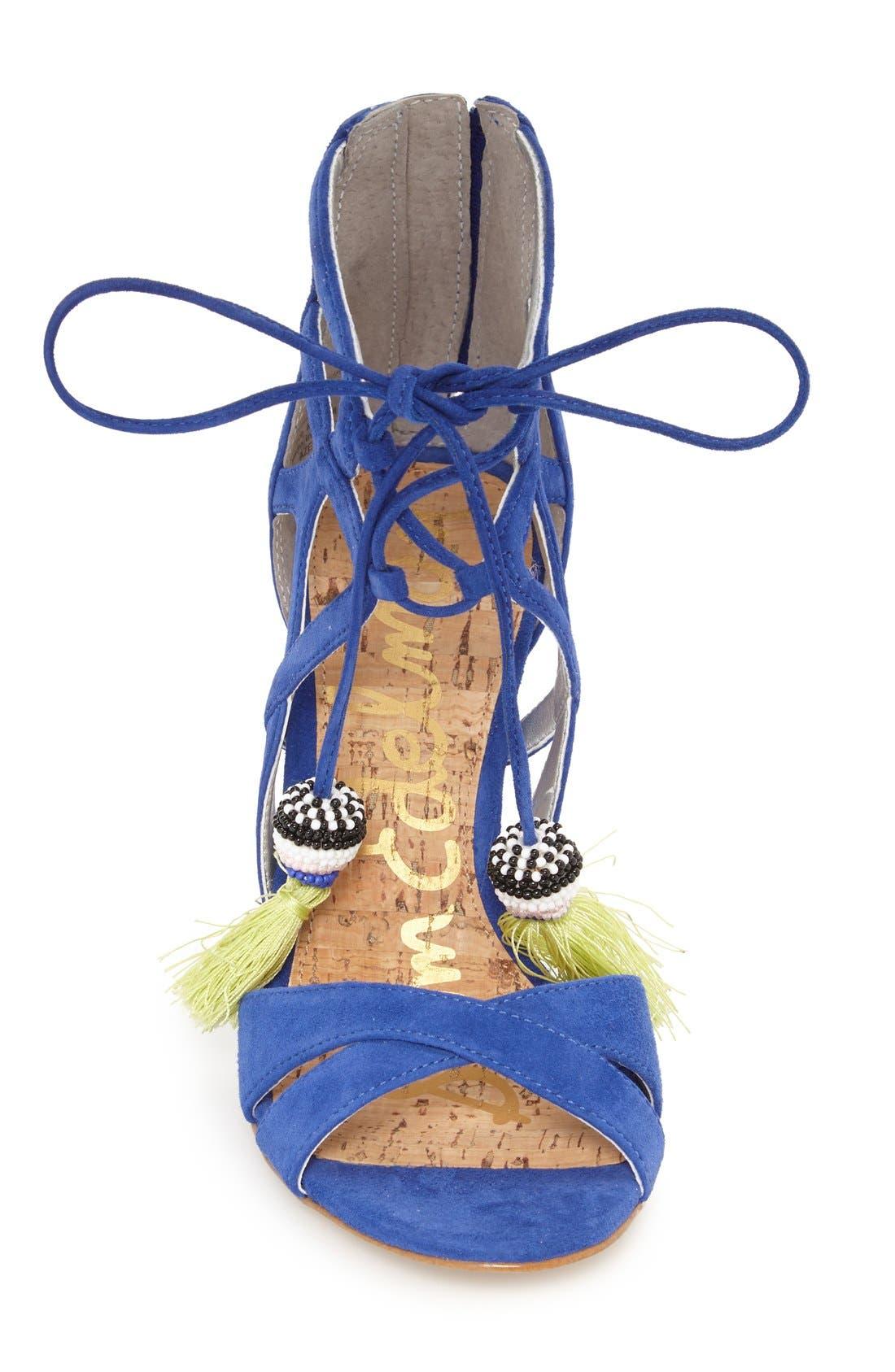 'Azela' Tassel Lace-Up Sandal,                             Alternate thumbnail 3, color,                             Sailor Blue Suede