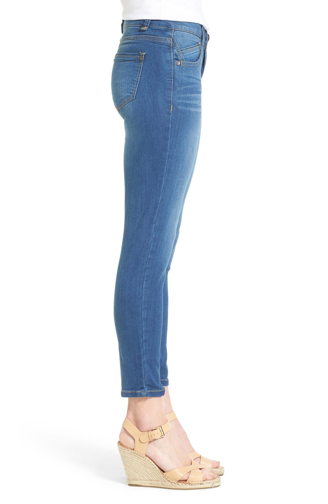 'Ab-solution' Stretch Ankle Skinny Jeans,                             Alternate thumbnail 3, color,                             Blue