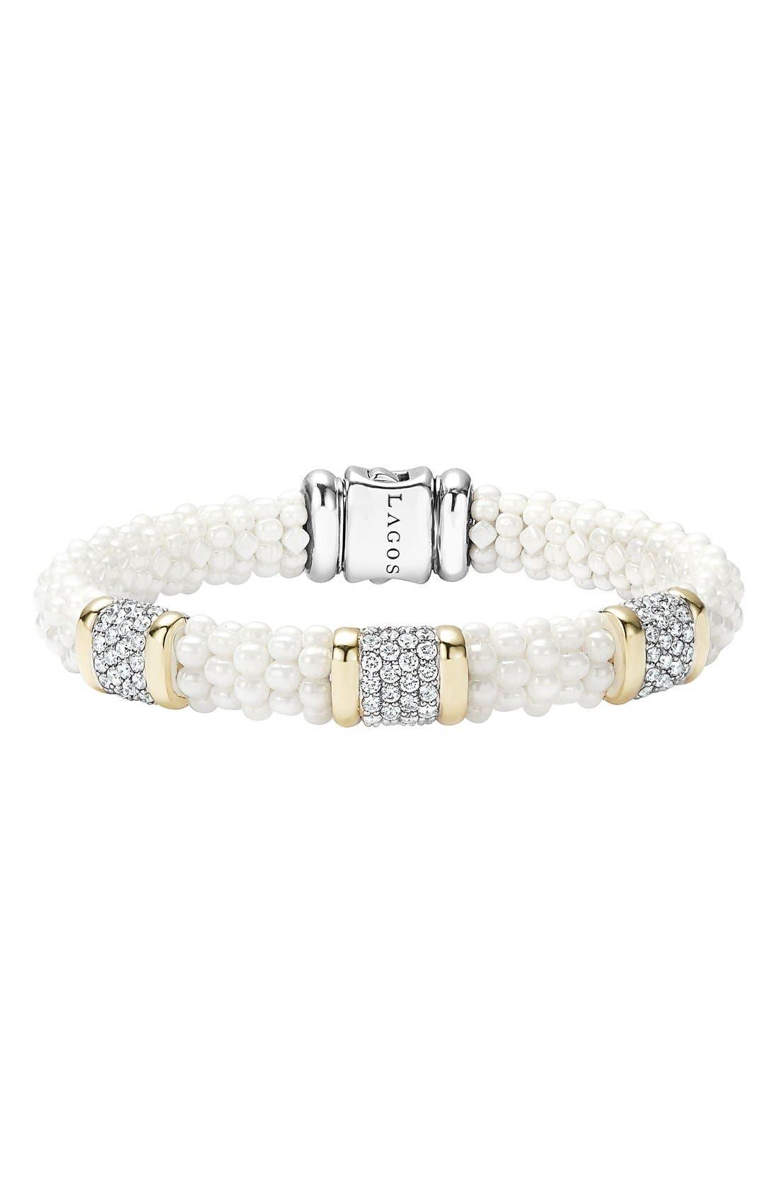 'White Caviar' Three Station Diamond Bracelet,                             Main thumbnail 1, color,                             White Caviar