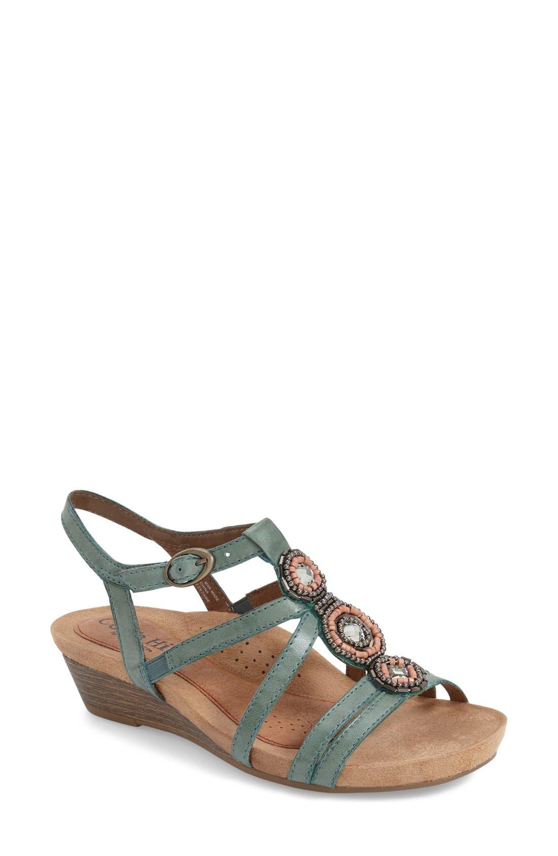'Hannah' Leather Sandal,                         Main,                         color, Teal Leather