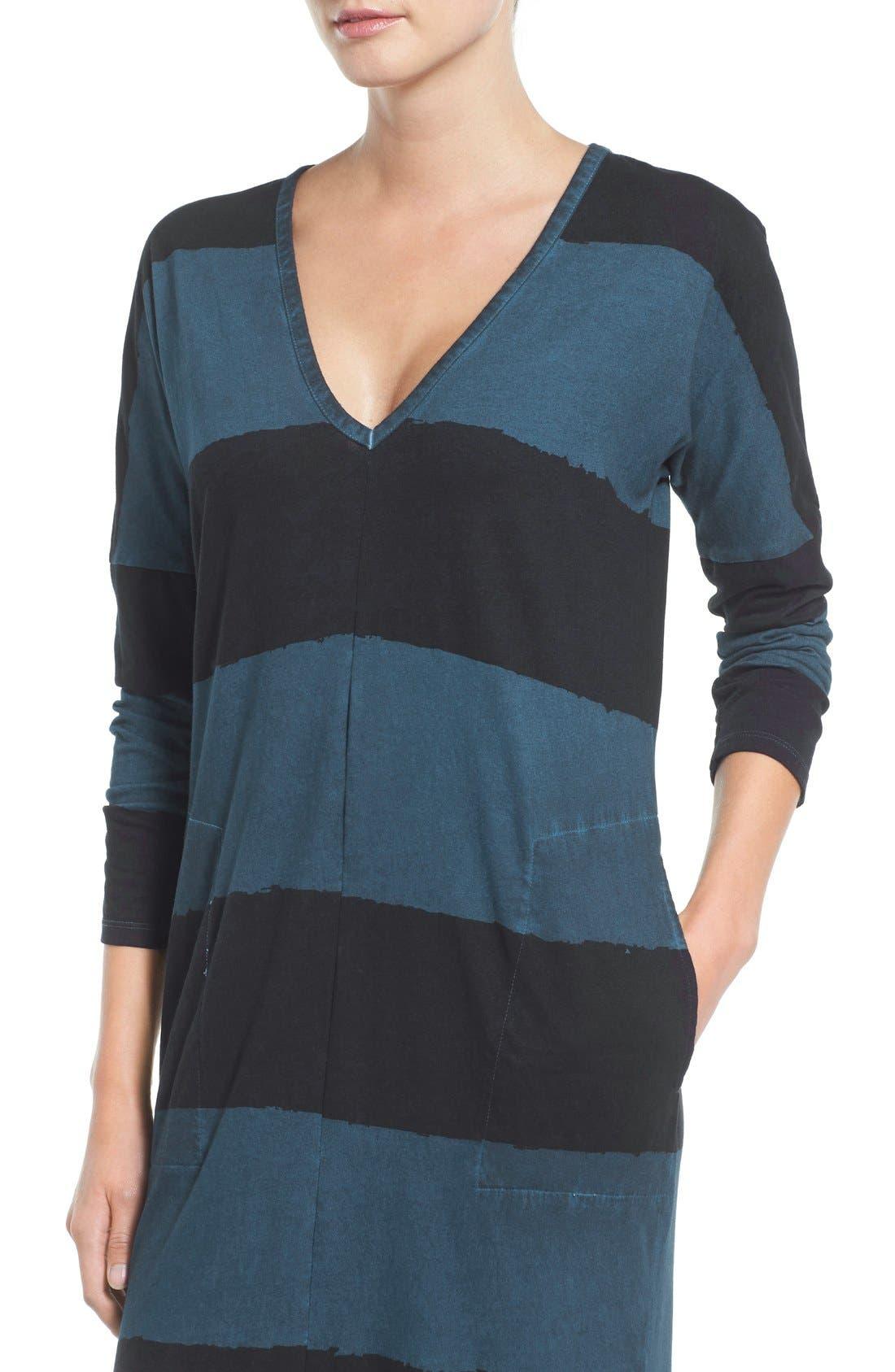 Alternate Image 4  - Lucky Brand Dyed Stripe Cotton Knit Midi Dress