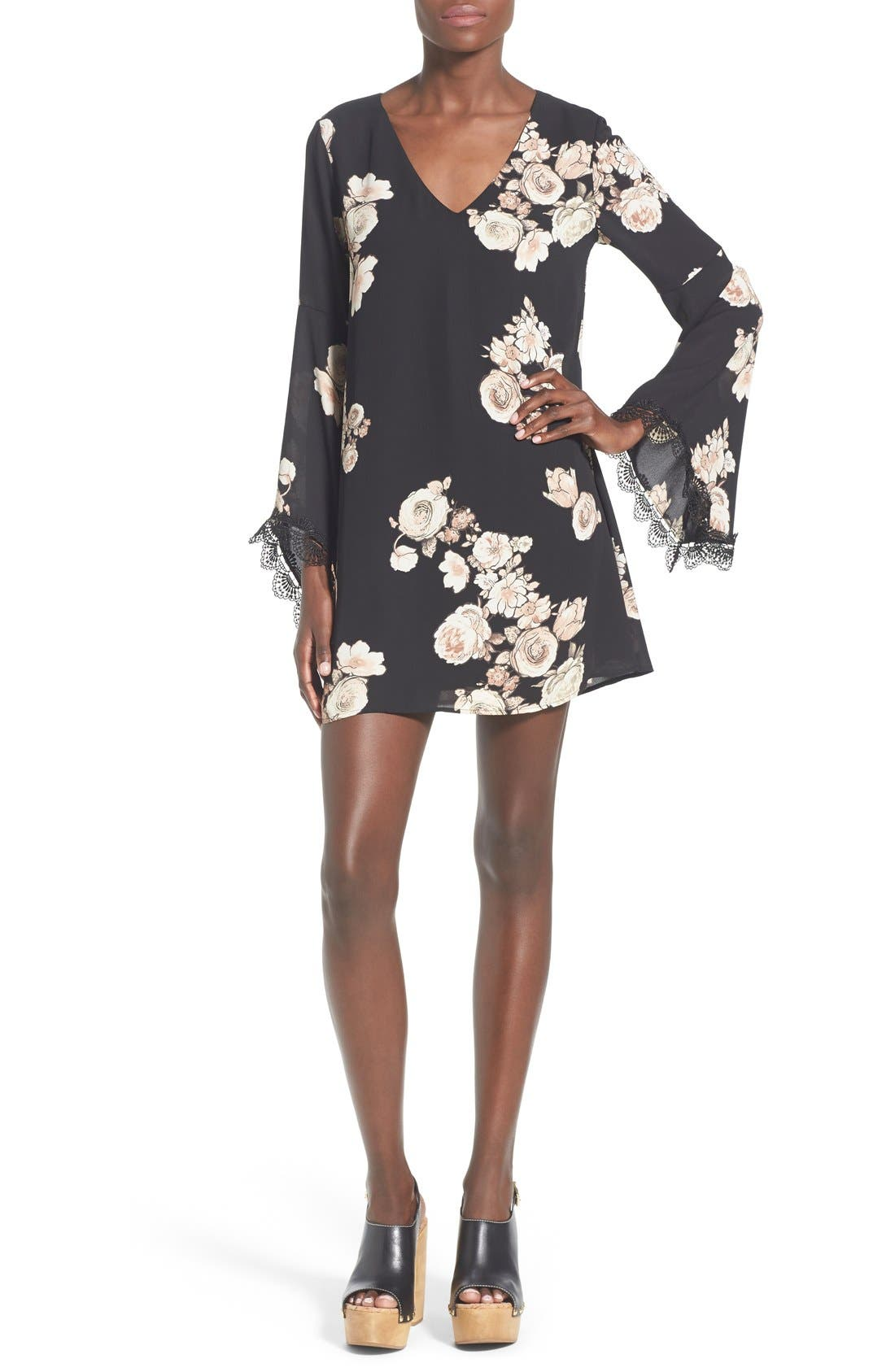 ASTR Lace Trim Shift Dress,                         Main,                         color, Black/ Blush Multi
