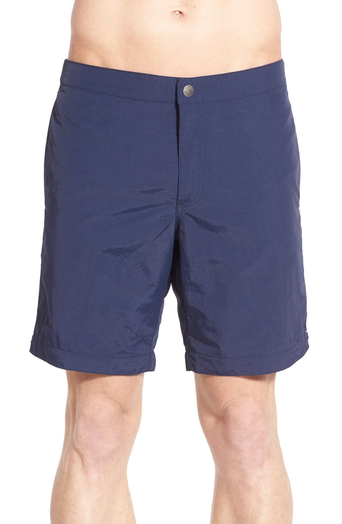 Aruba Tailored Fit 8.5 Inch Swim Trunks,                             Main thumbnail 1, color,                             Deep Navy Blue
