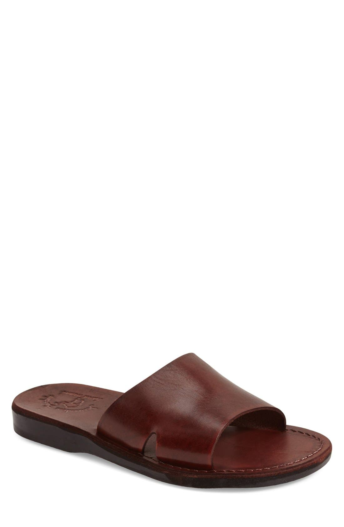 'Bashan' Sandal,                             Main thumbnail 1, color,                             Brown Leather
