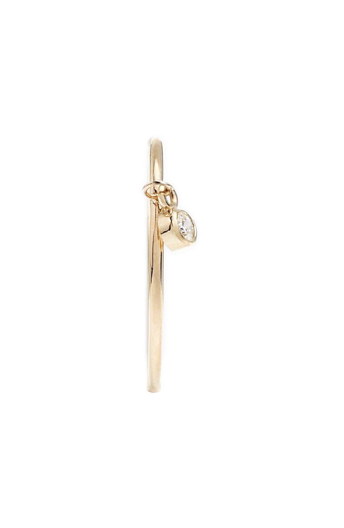 Dangling Diamond Ring,                             Alternate thumbnail 3, color,                             Yellow Gold