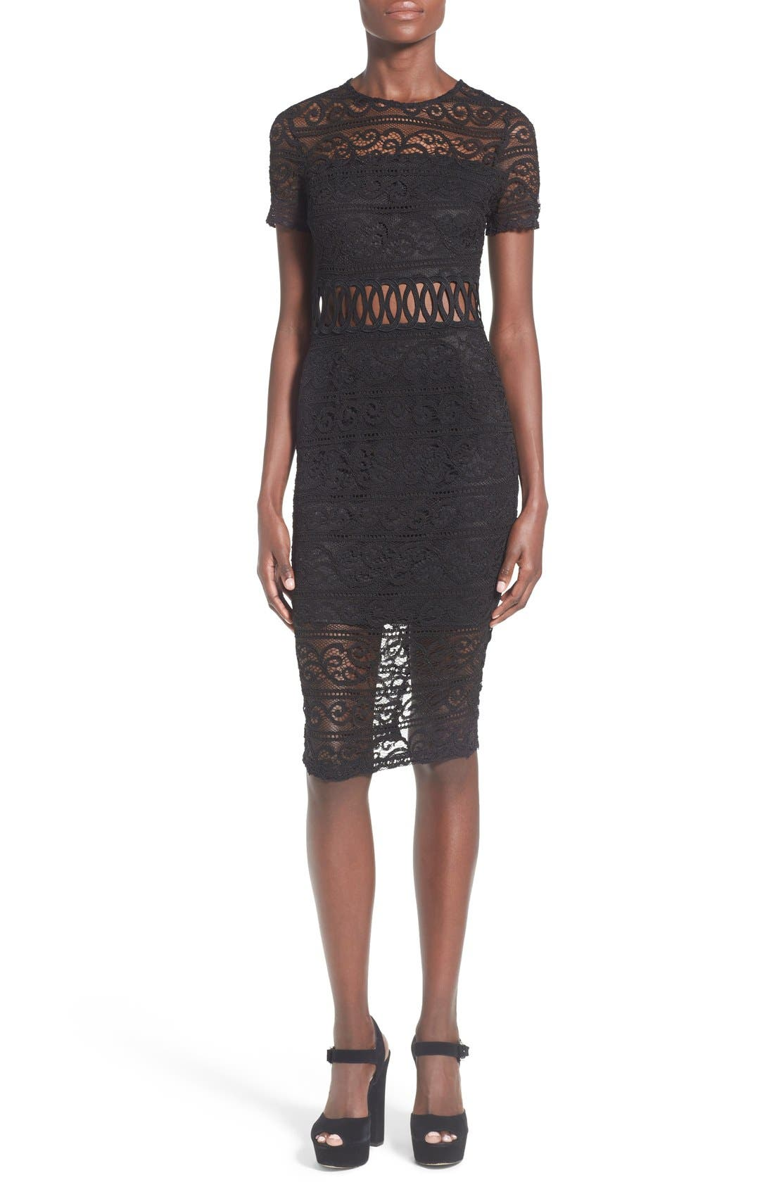 Alternate Image 1 Selected - Missguided Lace Panel Midi Dress