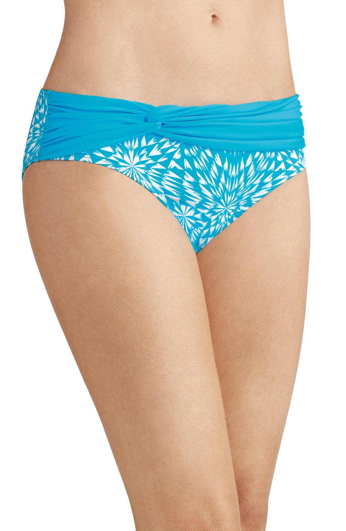 'Hawaii' Swim Briefs,                             Main thumbnail 1, color,                             Turquoise/ White