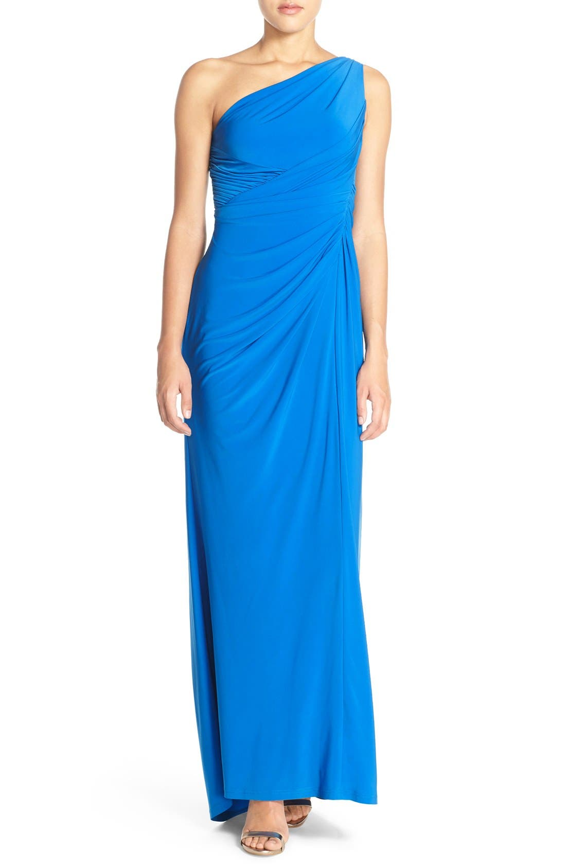Alternate Image 1 Selected - Adrianna Papell One-Shoulder Draped Jersey Gown