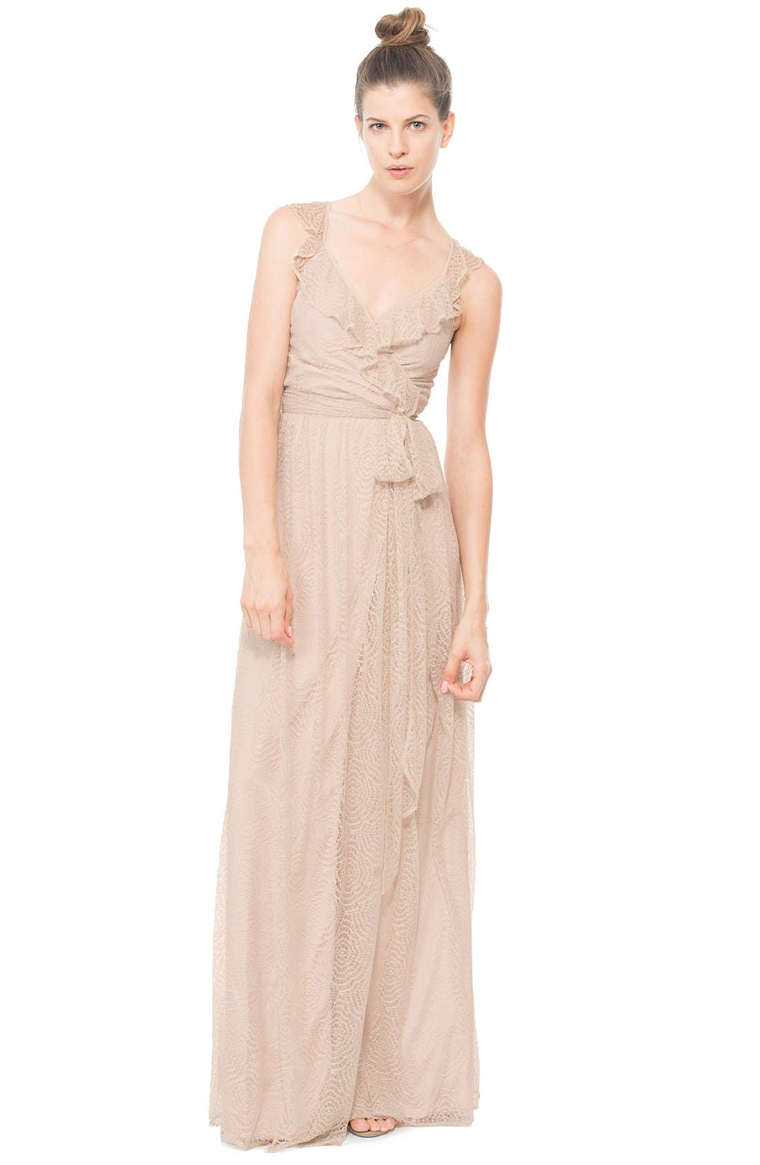 Alternate Image 2  - Ceremony by Joanna August 'Lacey' Ruffle Wrap Lace Dress