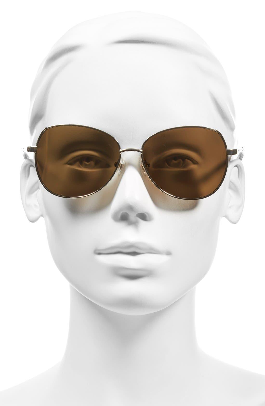 'candida' 57mm polarized aviator sunglasses,                             Alternate thumbnail 2, color,                             Light Gold