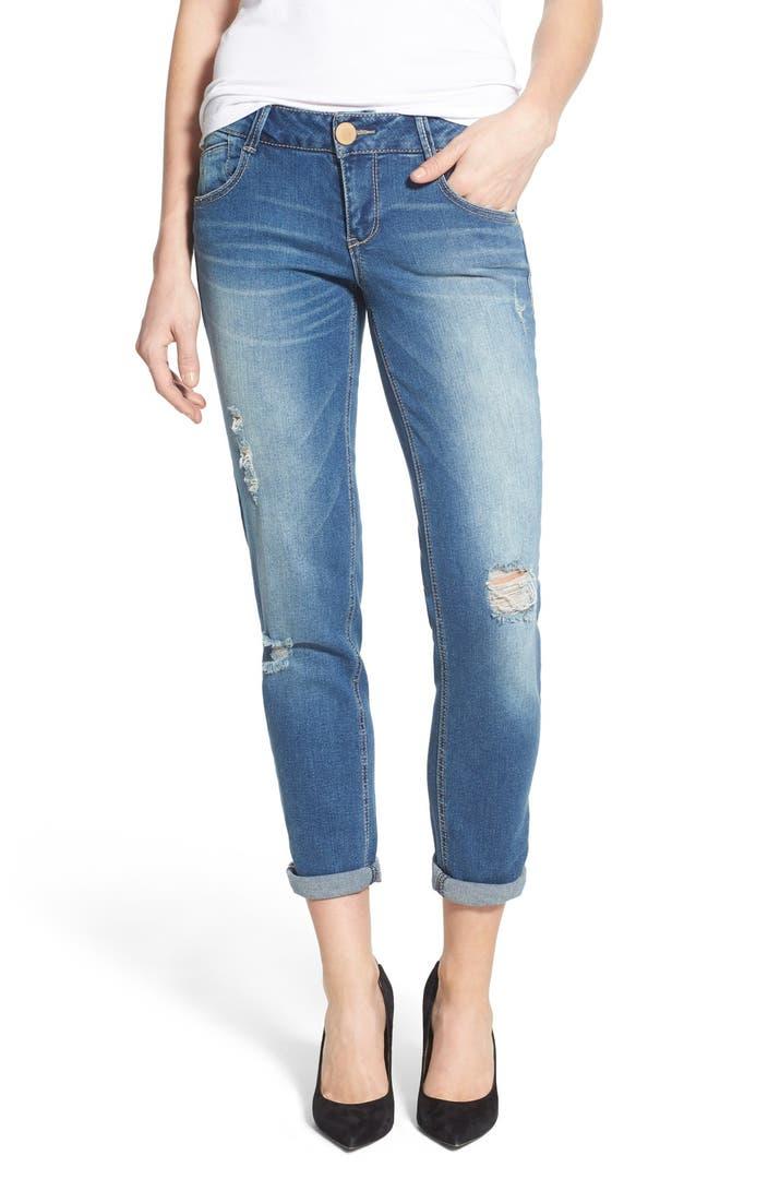 Wit Amp Wisdom Distressed Stretch Girlfriend Jeans