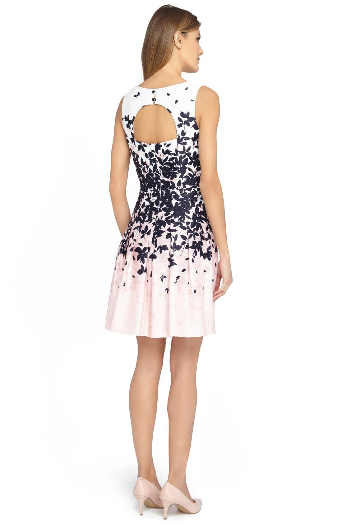 Alternate Image 2  - Tahari Floral Jacquard Fit & Flare Dress (Regular & Petite)