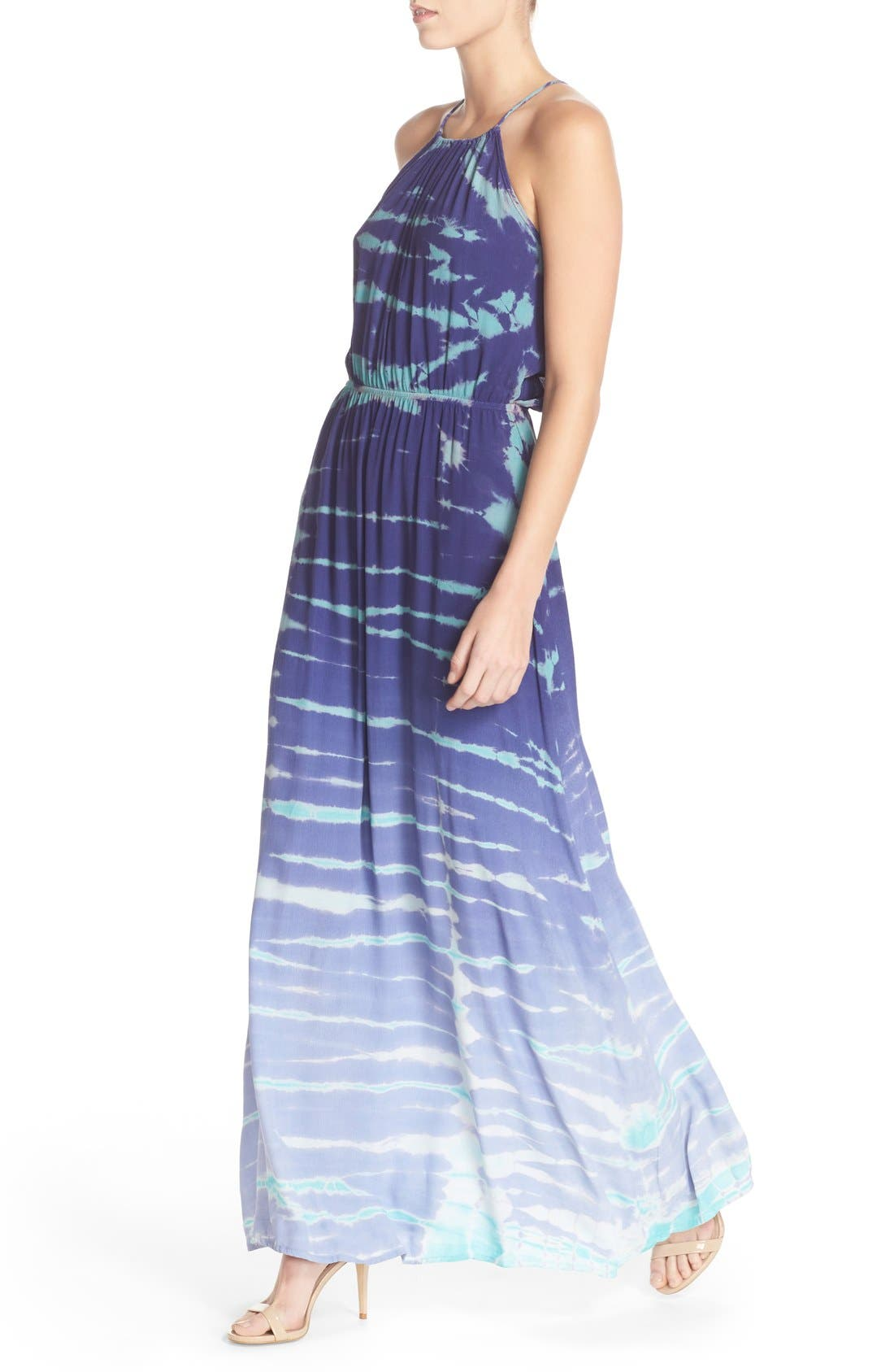 Tie Dye Crepe Maxi Dress,                             Alternate thumbnail 4, color,                             Navy Special