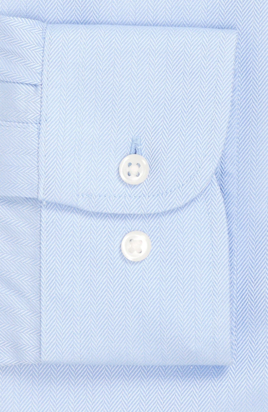 Smartcare<sup>™</sup> Trim Fit Herringbone Dress Shirt,                             Alternate thumbnail 3, color,                             Blue