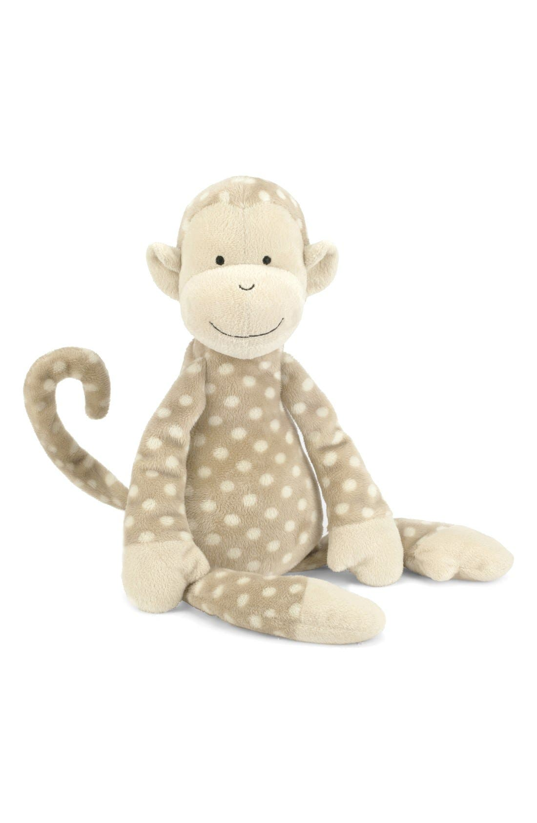 'Monty Monkey' Stuffed Animal,                             Main thumbnail 1, color,                             Brown/ Cream