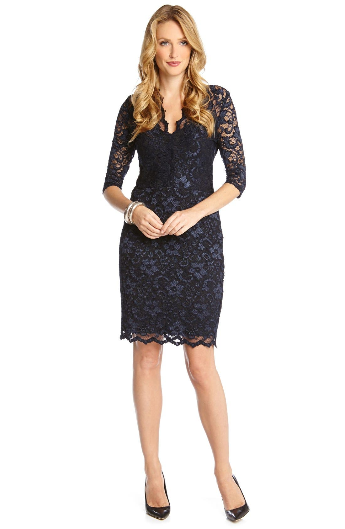 Alternate Image 2  - Karen Kane Scalloped Lace Sheath Dress (Regular & Petite)