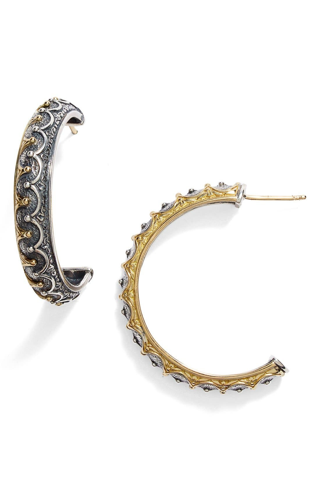 'Hebe' Crown Detail Hoop Earrings,                             Main thumbnail 1, color,                             Silver/ Gold