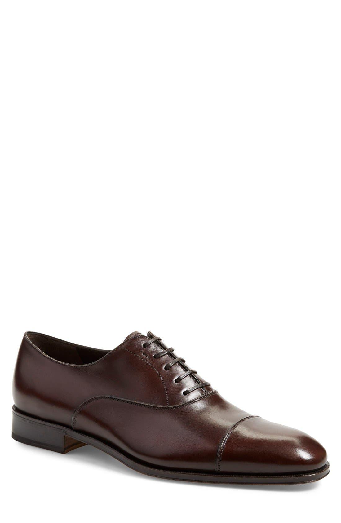 Luce Cap Toe Oxford,                         Main,                         color, Auburn Leather