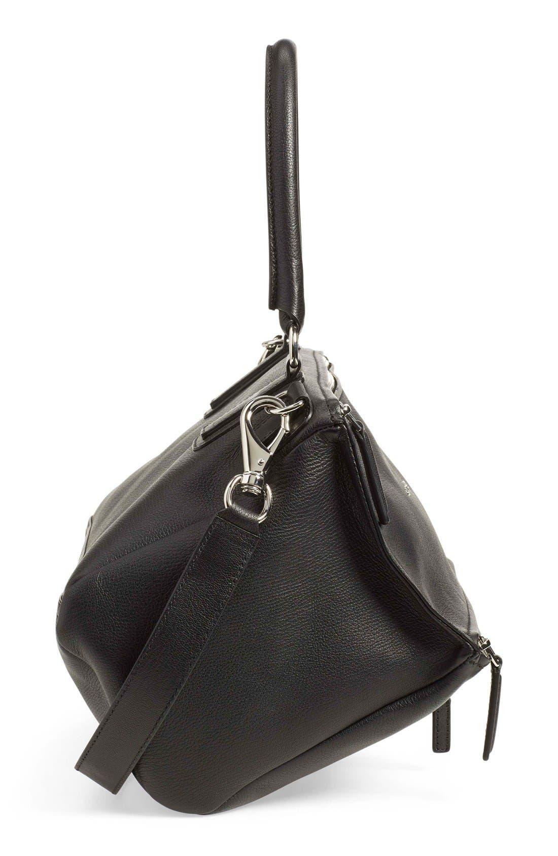 'Medium Pandora' Sugar Leather Satchel,                             Alternate thumbnail 5, color,                             Black