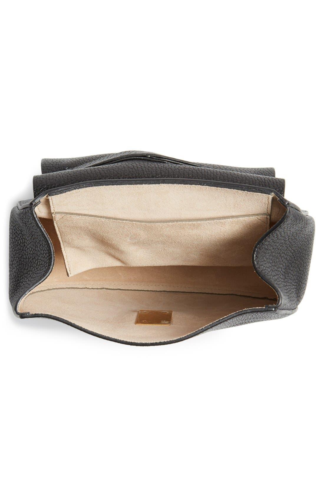 Drew Leather Shoulder Bag,                             Alternate thumbnail 4, color,                             Black Gold Hrdwre