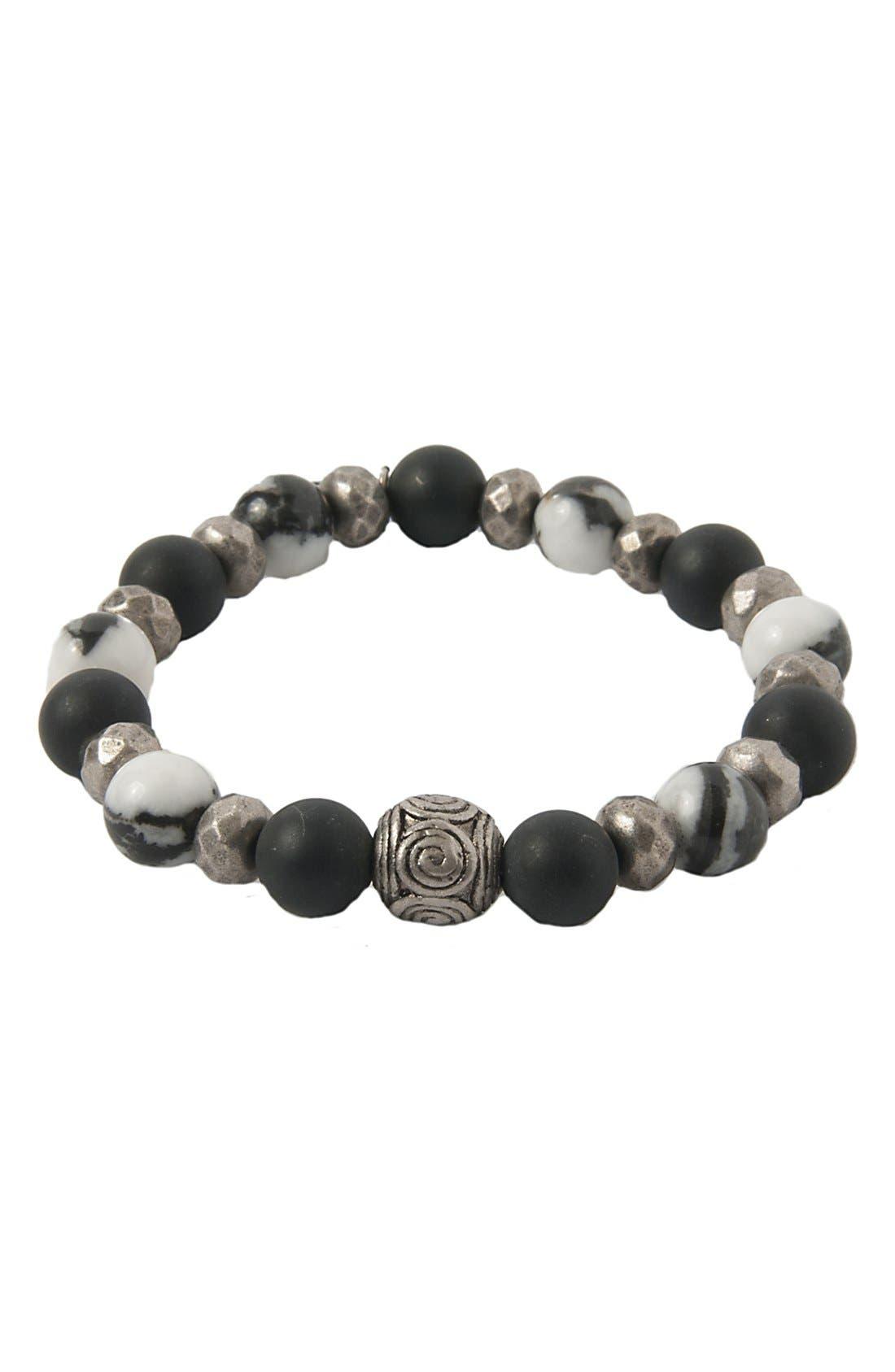 Mr. Ettika Silver & Agate Stretch Bracelet,                         Main,                         color, Black/ Silver