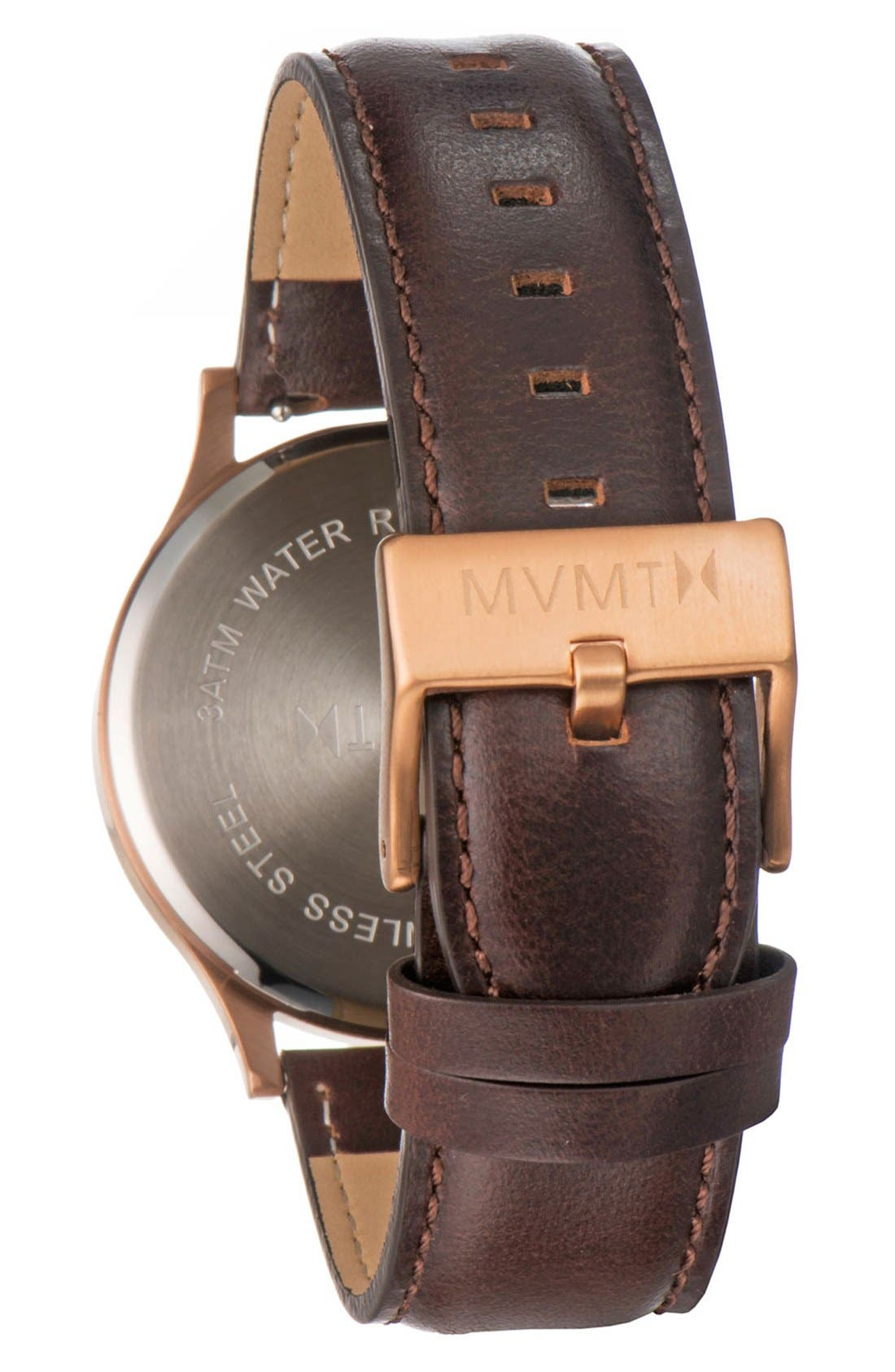 Leather Strap Watch, 40mm,                             Alternate thumbnail 2, color,                             Brown/ Rose Gold/ Black