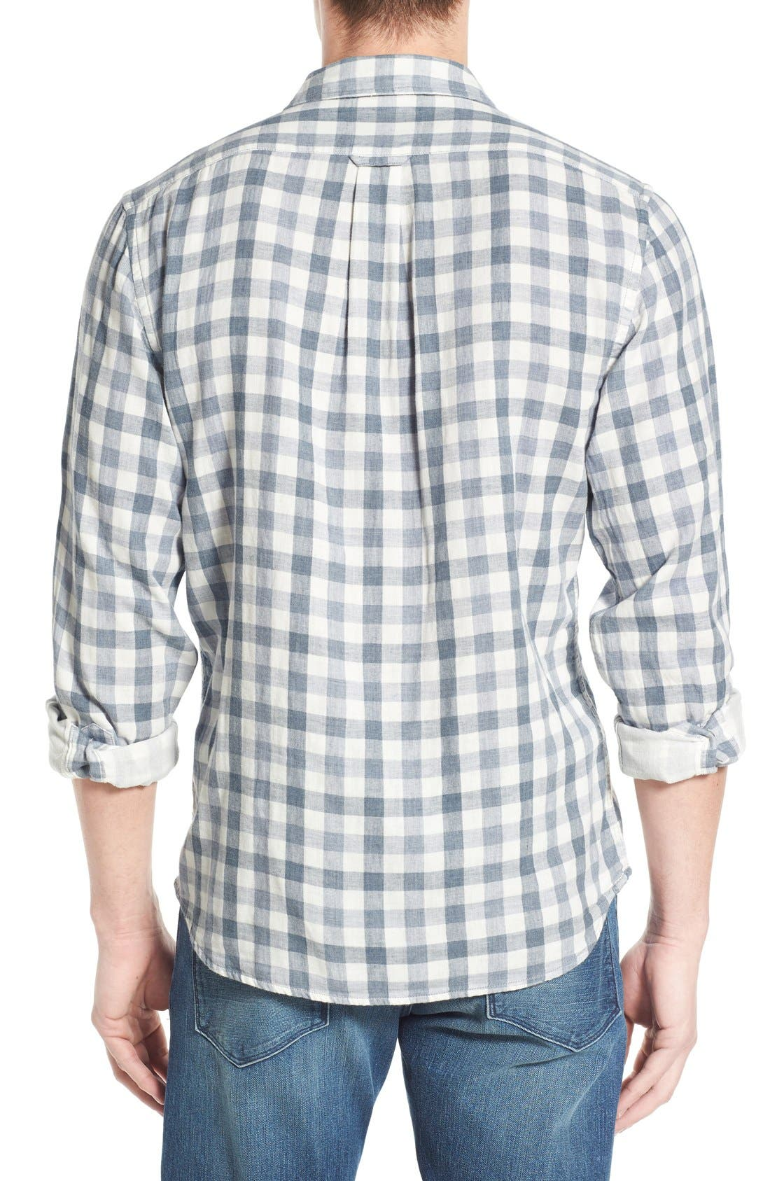 'Denby' Trim Fit Double Woven Sport Shirt,                             Alternate thumbnail 2, color,                             Heather Blue/ Cream Gingham