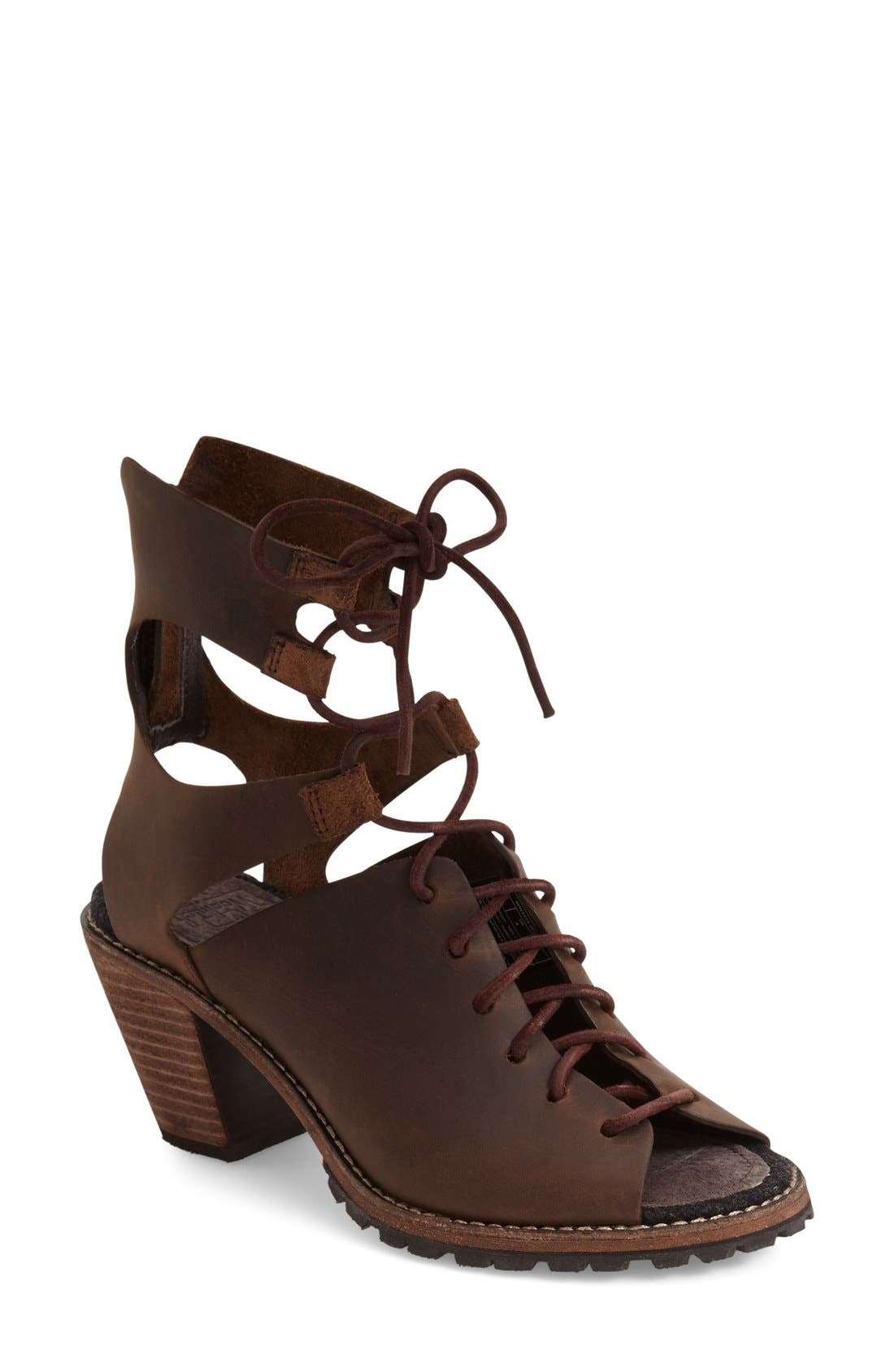 'Mohave Arroyo' Lace-Up Boot,                             Main thumbnail 1, color,                             Bitter Chocolate Leather