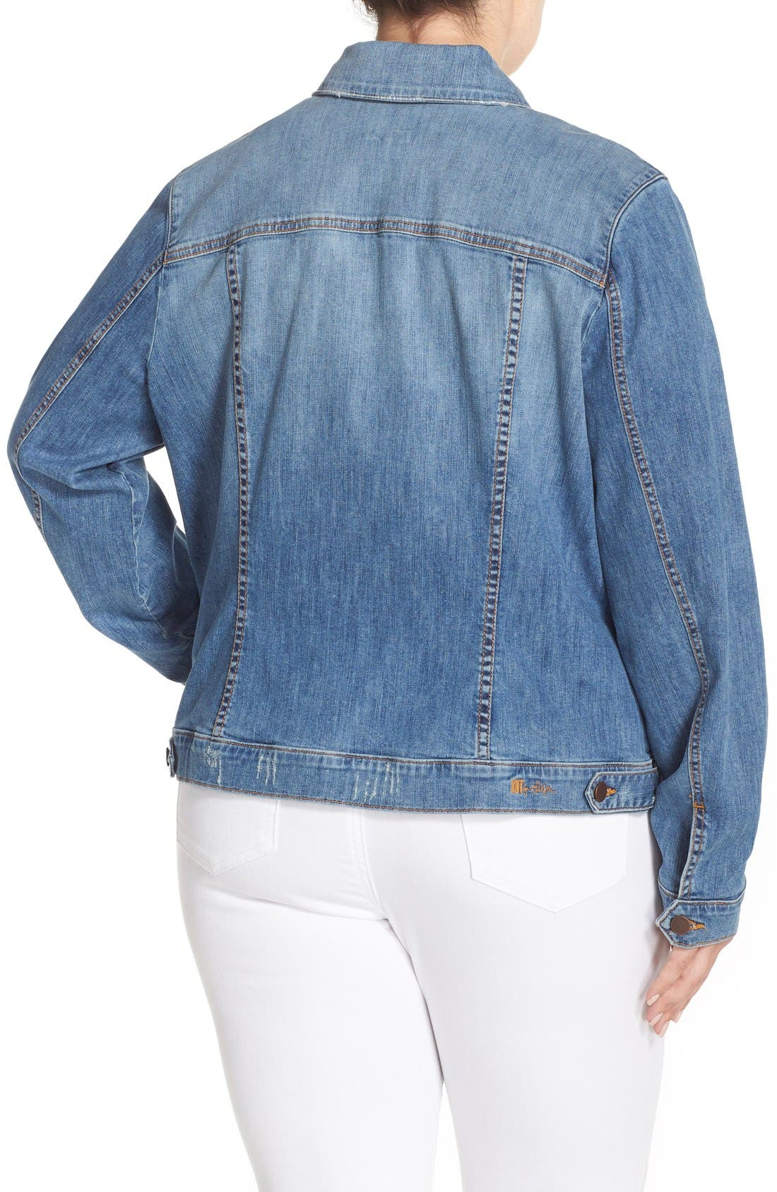 Alternate Image 2  - KUT from the Kloth Helena Distressed Denim Jacket (Plus Size)
