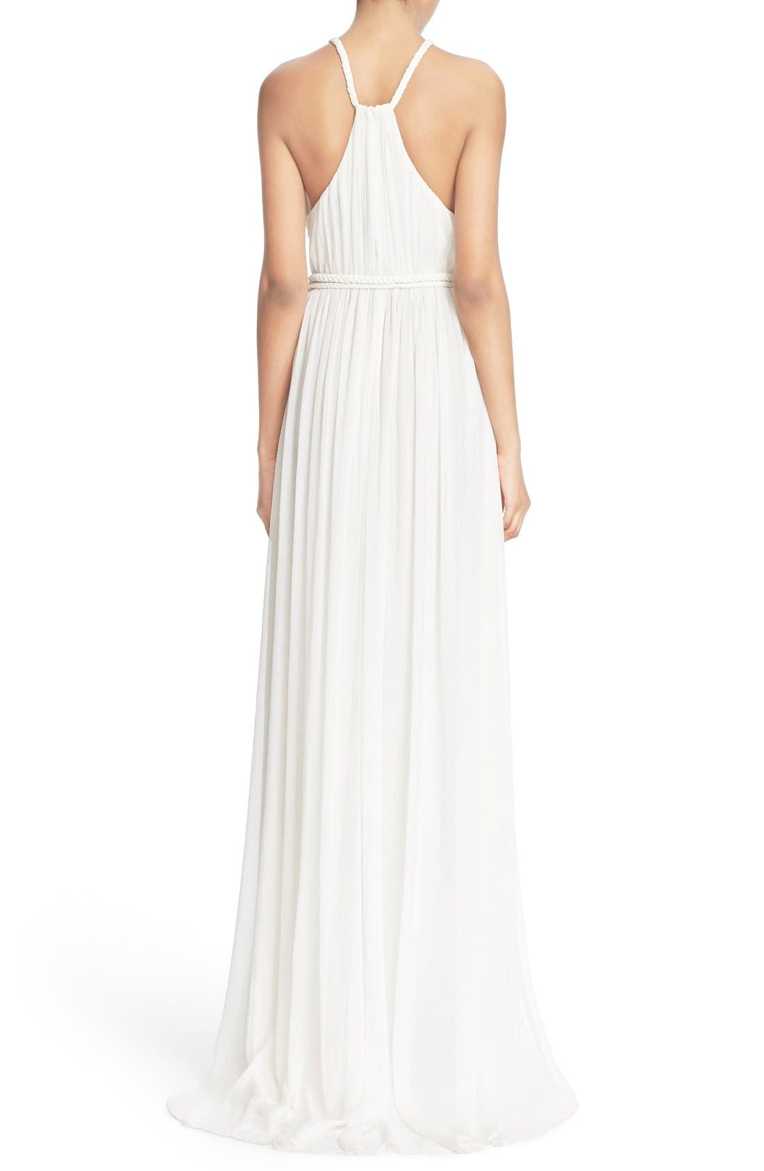 'Naomi' Pleated Goddess Gown,                             Alternate thumbnail 2, color,                             Off White