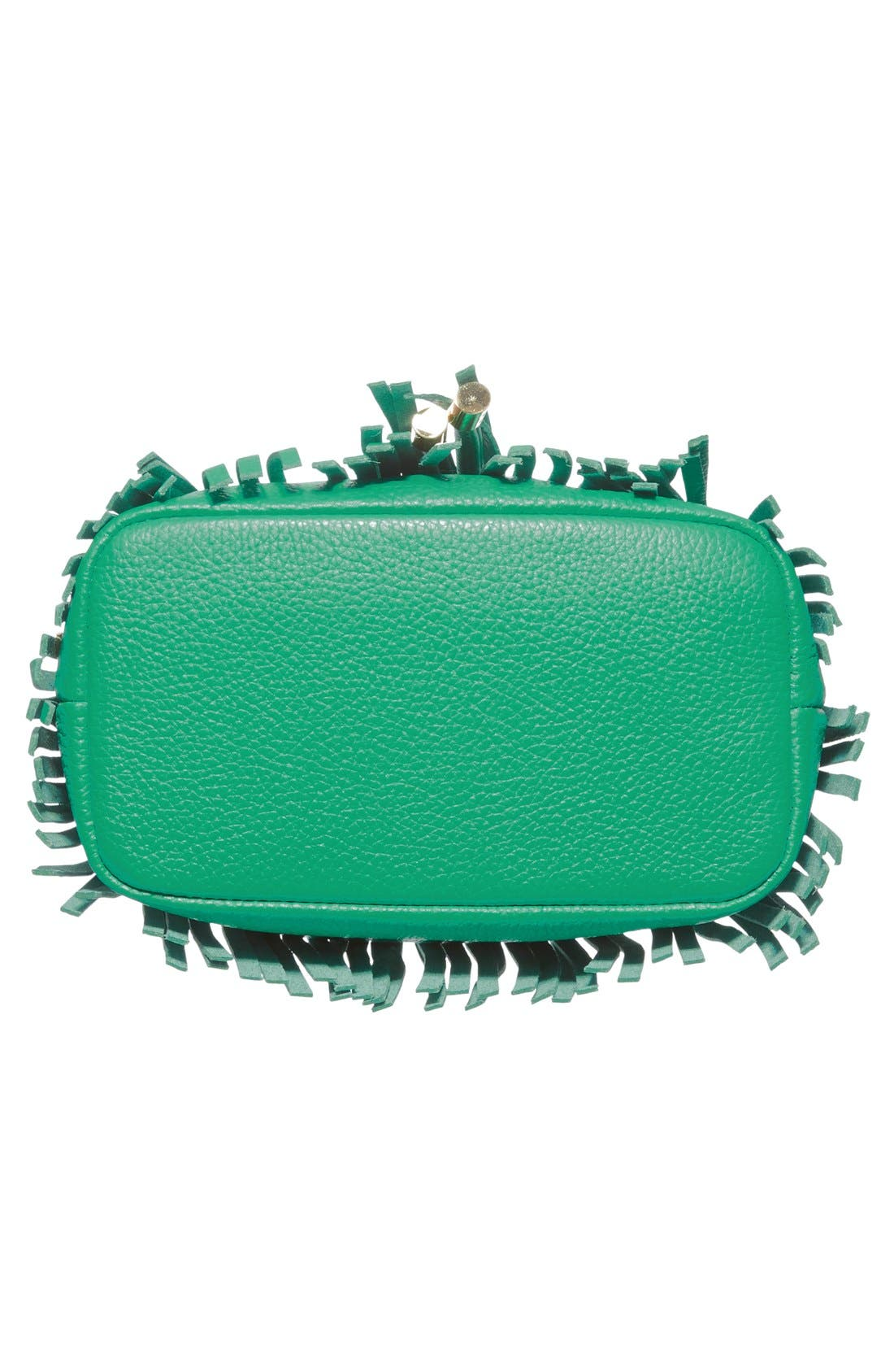 Fringed Leather Bucket Bag,                             Alternate thumbnail 6, color,                             Jade