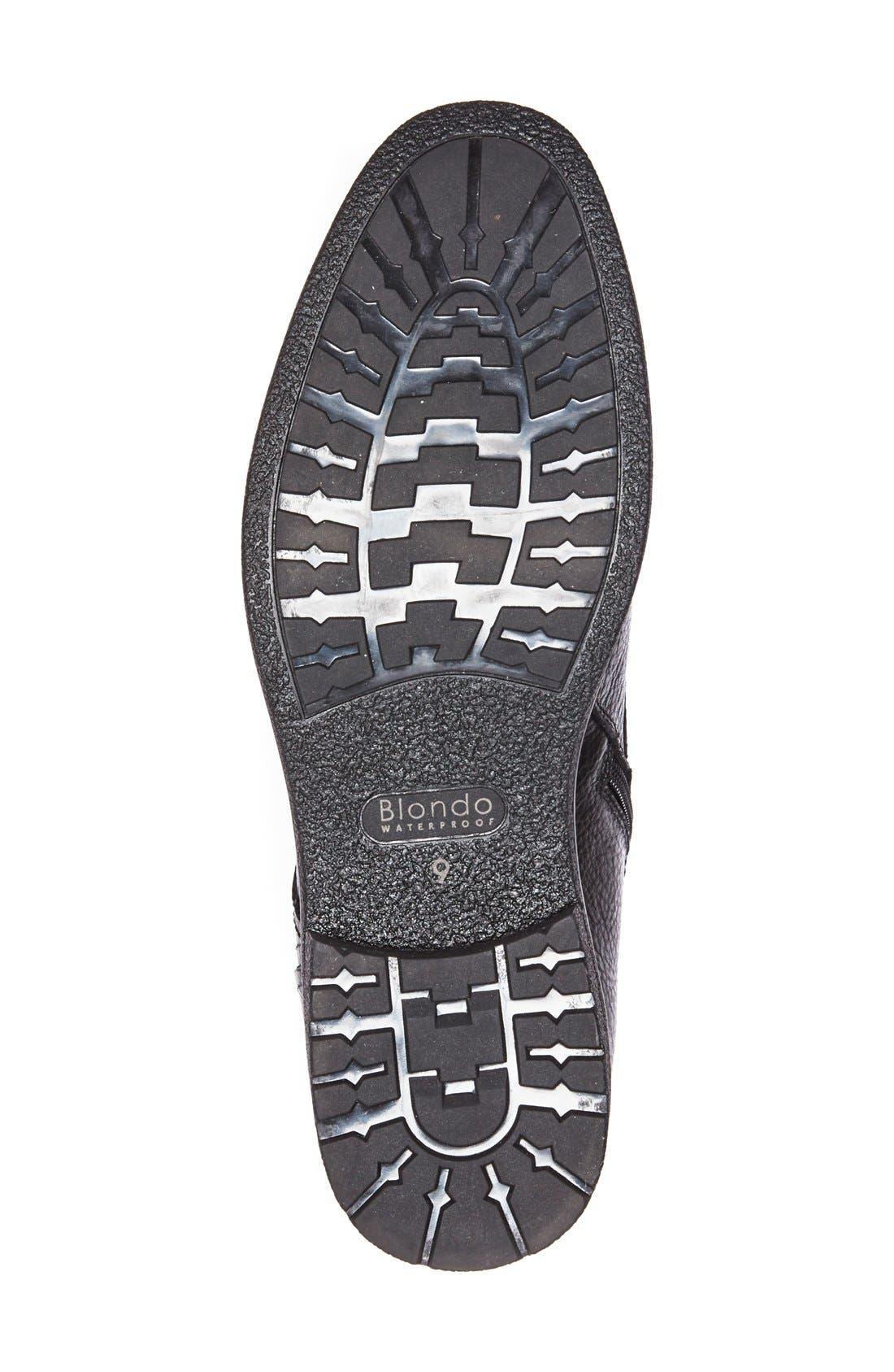 'Backoff' Waterproof Plain Toe Boot,                             Alternate thumbnail 4, color,                             Black Leather