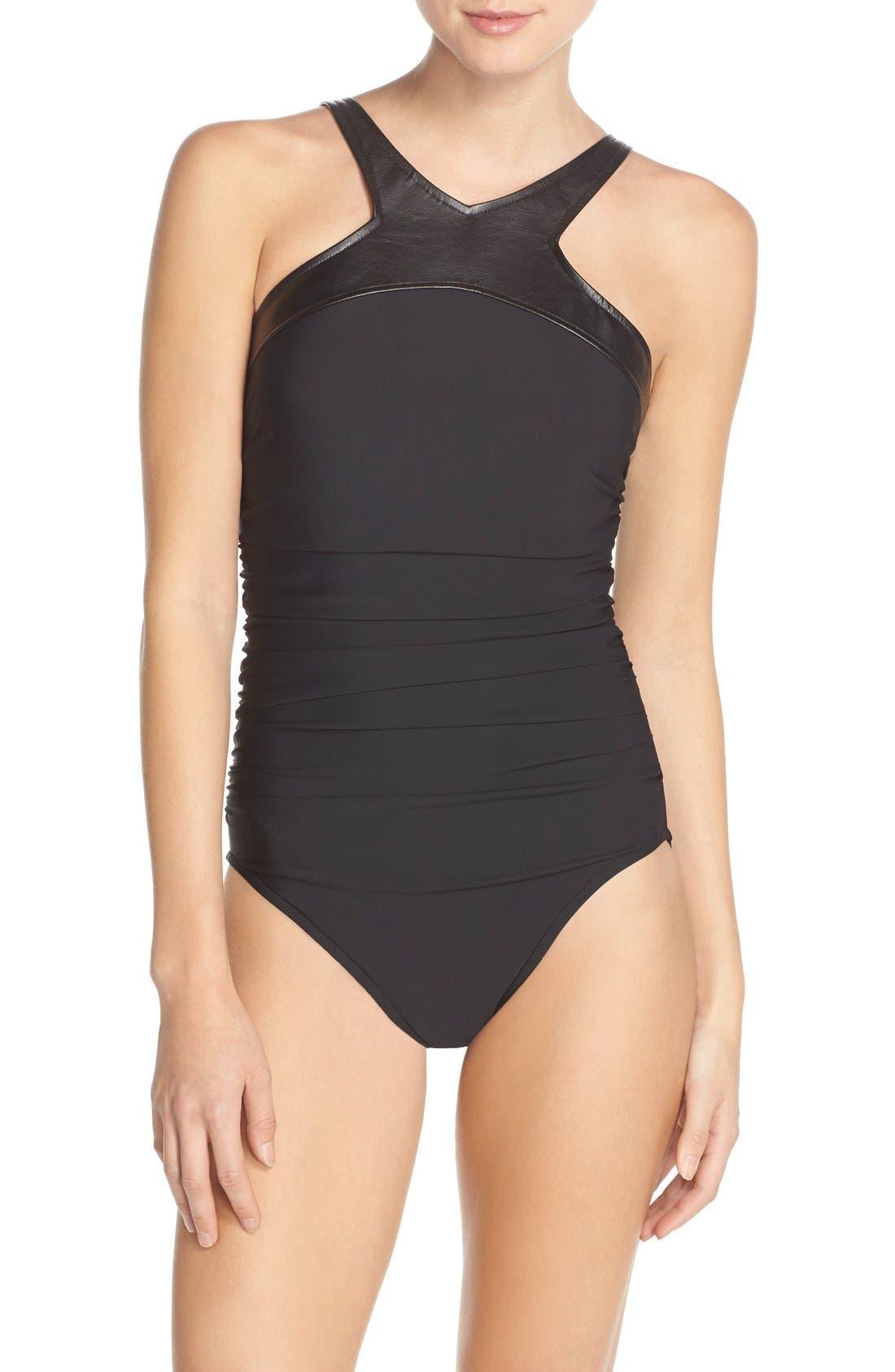 Alternate Image 1 Selected - Magicsuit® 'Bonnie' Faux Leather Neck One-Piece Swimsuit