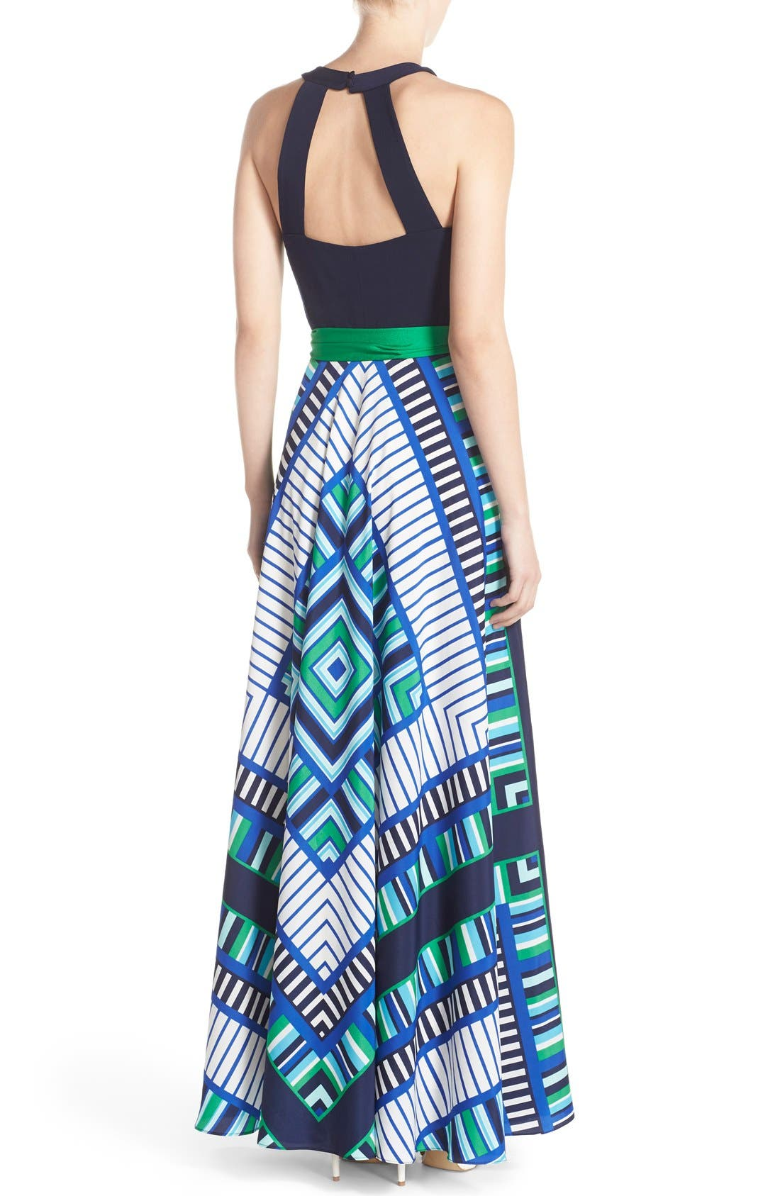 Alternate Image 2  - Eliza J Scarf Print Jersey & Crêpe de Chine Maxi Dress (Regular & Petite)
